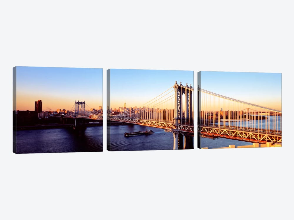 Manhattan Bridge, NYC, New York City, New York State, USA by Panoramic Images 3-piece Canvas Art