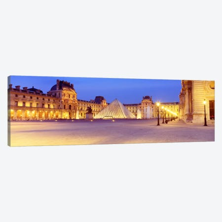 Louvre Pyramid At NIght, Napoleon Courtyard (Cour Napoleon), Louvre Museum, Paris, France Canvas Print #PIM2345} by Panoramic Images Art Print