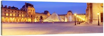 Louvre Pyramid At NIght, Napoleon Courtyard (Cour Napoleon), Louvre Museum, Paris, France Canvas Print #PIM2345