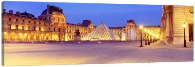 Louvre Pyramid At NIght, Napoleon Courtyard (Cour Napoleon), Louvre Museum, Paris, France Canvas Art Print