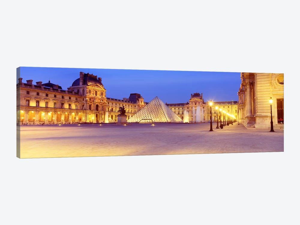Louvre Pyramid At NIght, Napoleon Courtyard (Cour Napoleon), Louvre Museum, Paris, France by Panoramic Images 1-piece Canvas Art Print