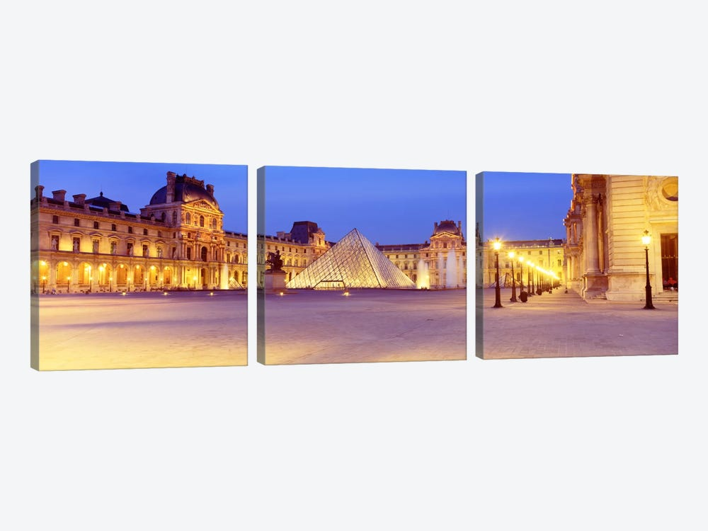 Louvre Pyramid At NIght, Napoleon Courtyard (Cour Napoleon), Louvre Museum, Paris, France by Panoramic Images 3-piece Canvas Art Print