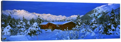 Mountainside Cabin Near Mount Alyeska, Chugach Mountains, Alaska, USA Canvas Art Print