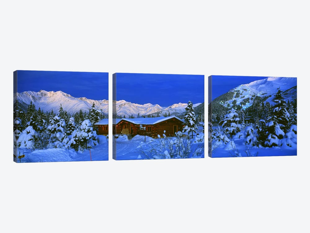 Mountainside Cabin Near Mount Alyeska, Chugach Mountains, Alaska, USA by Panoramic Images 3-piece Canvas Wall Art