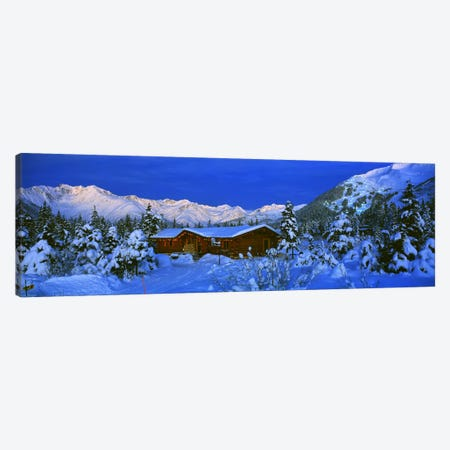 Mountainside Cabin Near Mount Alyeska, Chugach Mountains, Alaska, USA Canvas Print #PIM2357} by Panoramic Images Canvas Art
