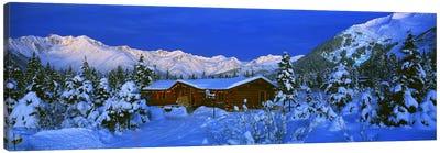 Mountainside Cabin Near Mount Alyeska, Chugach Mountains, Alaska, USA Canvas Art Print