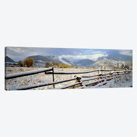 Snow-Covered Wooden Fence, Colorado, USA Canvas Print #PIM2358} by Panoramic Images Canvas Print