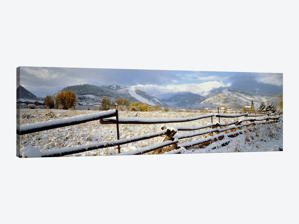 Snow-Covered Wooden Fence, Colorado, USA by Panoramic Images 1-piece Canvas Print