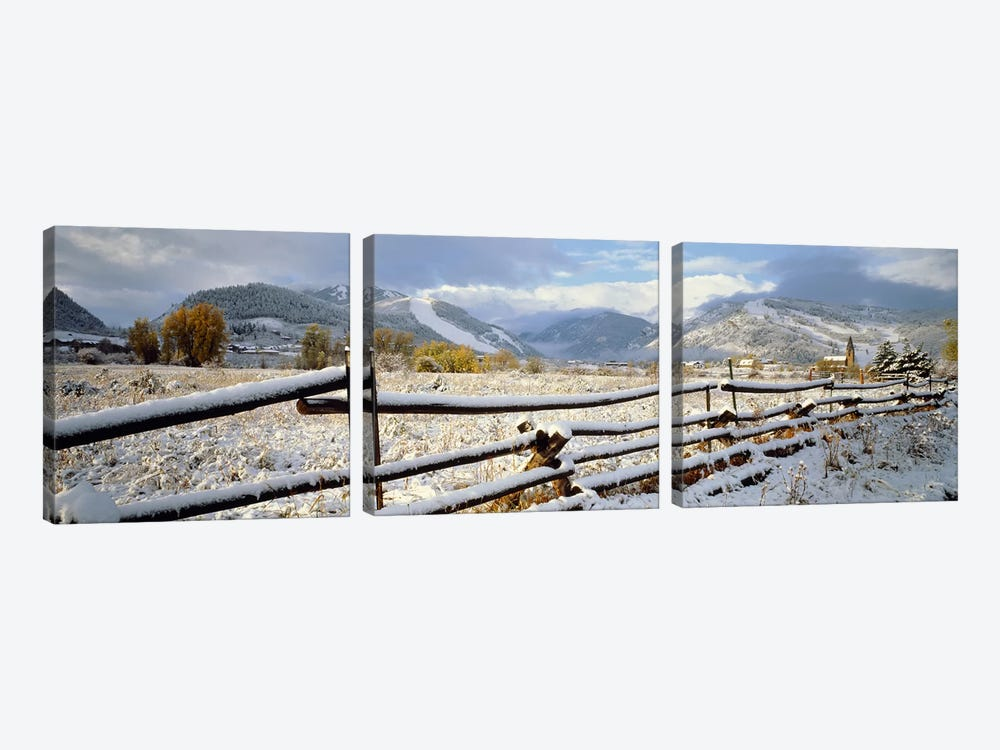 Snow-Covered Wooden Fence, Colorado, USA 3-piece Canvas Print
