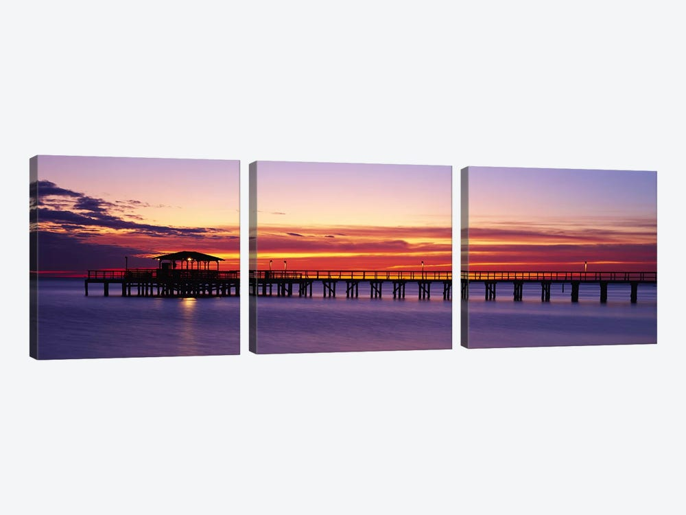 Sunset Mobile Pier AL USA by Panoramic Images 3-piece Canvas Art Print