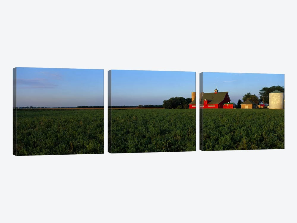Farm Fields Stelle IL USA by Panoramic Images 3-piece Canvas Artwork