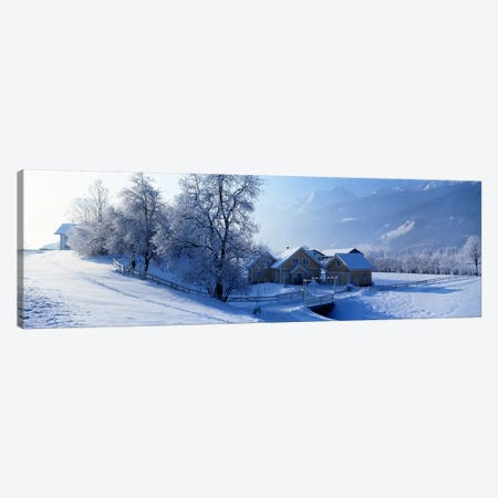Winter Farm Austria Canvas Print #PIM2395} by Panoramic Images Canvas Artwork