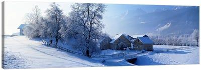 Winter Farm Austria Canvas Art Print