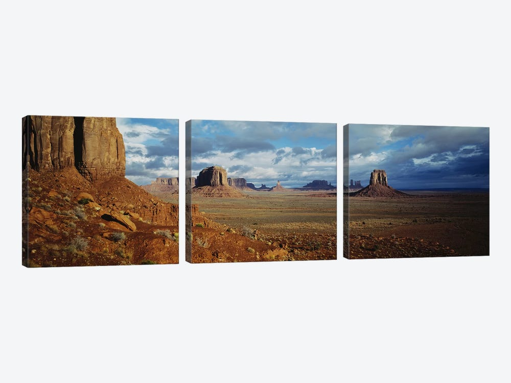 Stormy Valley Landscape, Monument Valley, Navajo Nation, USA by Panoramic Images 3-piece Canvas Wall Art