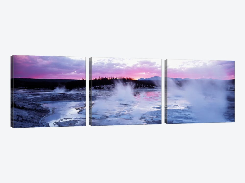 Fuchsia Sunset, Norris Geyser Basin, Yellowstone Caldera, Yellowstone National Park, Wyoming, USA by Panoramic Images 3-piece Art Print