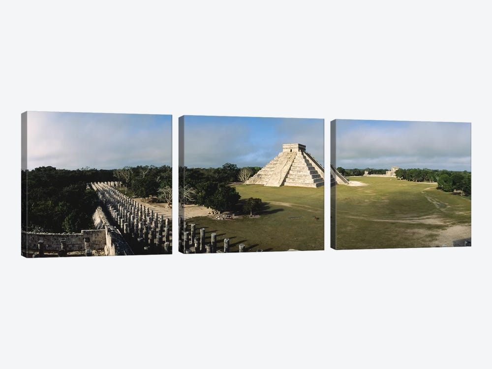 Pyramid Chichen Itza Mexico by Panoramic Images 3-piece Canvas Wall Art