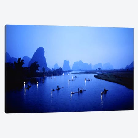 Night Fishing Guilin China Canvas Print #PIM2408} by Panoramic Images Art Print