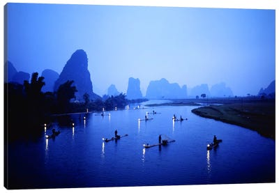 Night Fishing Guilin China Canvas Art Print