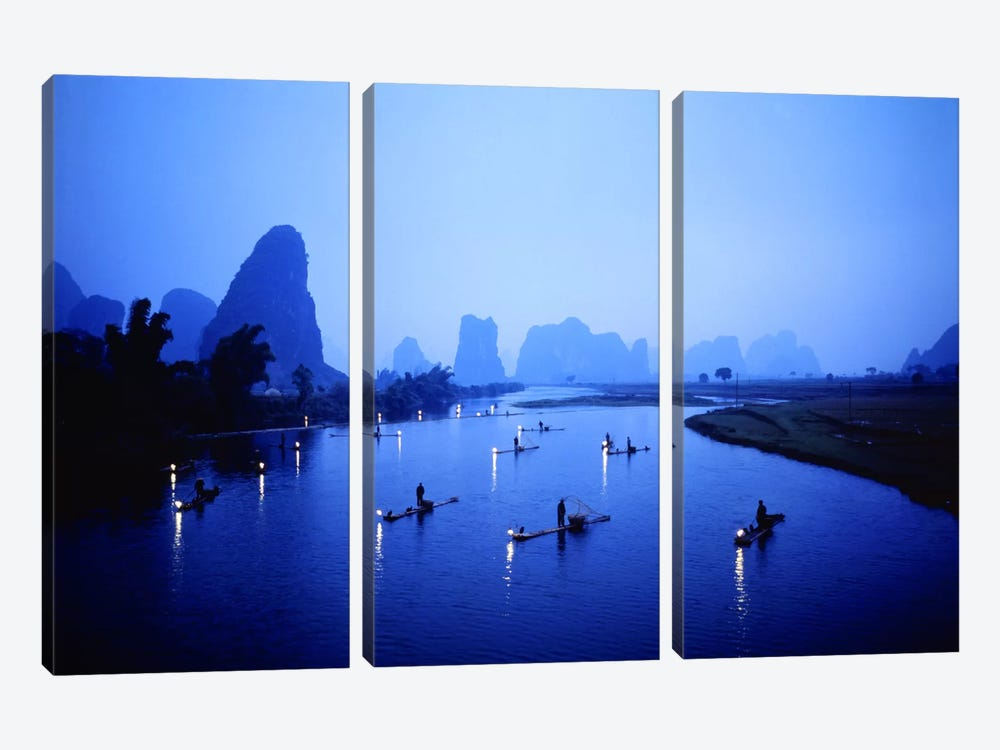 Night Fishing Guilin China by Panoramic Images 3-piece Canvas Art Print