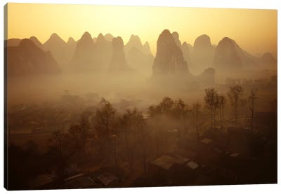 Sunrise in Mountains Guilin China Canvas Print #PIM2409