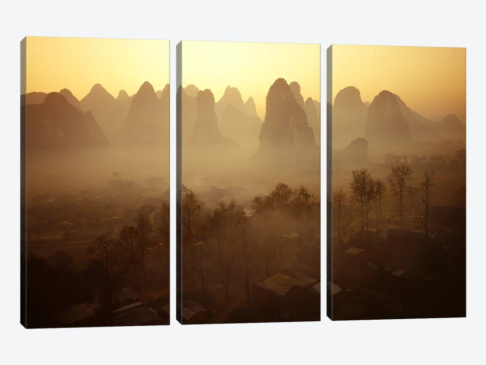 Sunrise in Mountains Guilin China by Panoramic Images 3-piece Canvas Wall Art