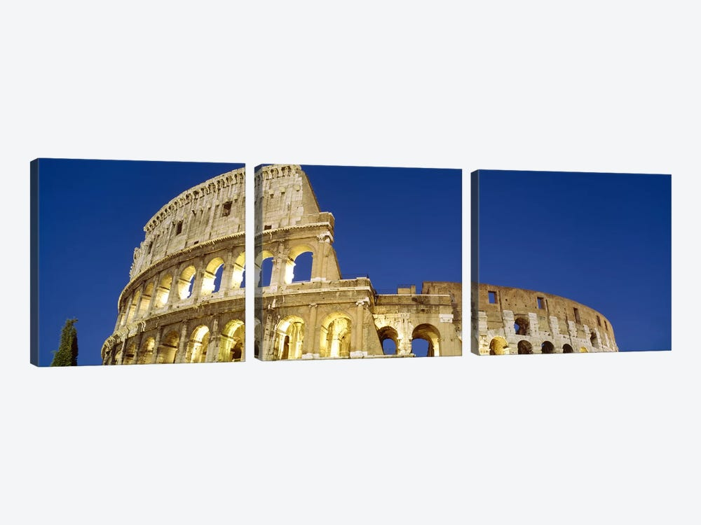 Low angle view of ruins of an amphitheaterColiseum, Rome, Lazio, Italy by Panoramic Images 3-piece Canvas Print