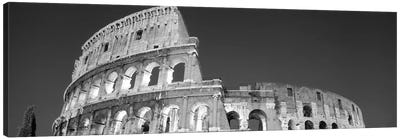 Low angle view of ruins of an amphitheater, Coliseum, Rome, Lazio, Italy (black & white) Canvas Art Print