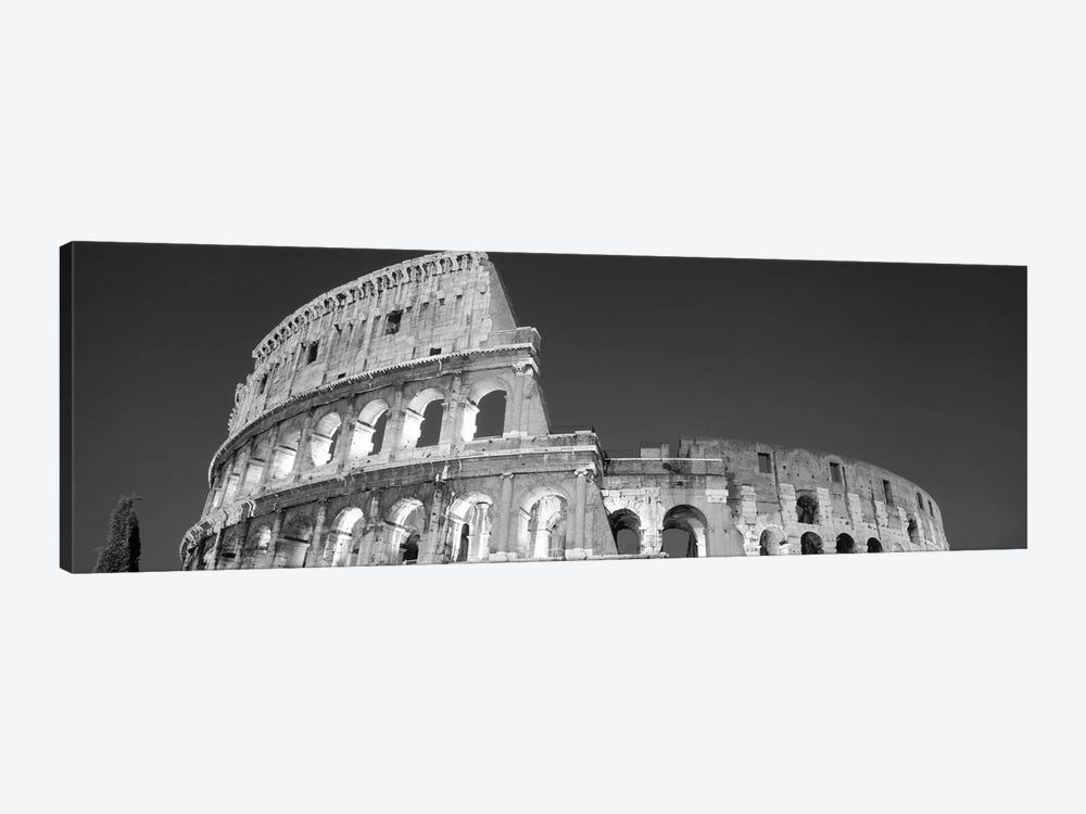 Low angle view of ruins of an amphitheater, Coliseum, Rome, Lazio, Italy (black & white) by Panoramic Images 1-piece Canvas Art Print