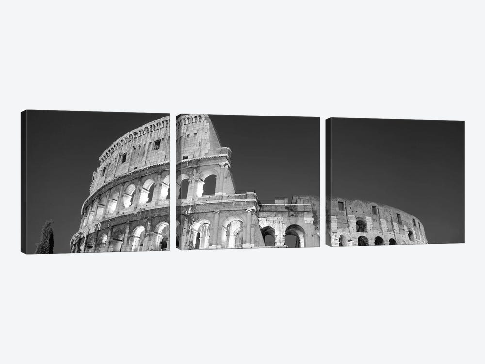 Low angle view of ruins of an amphitheater, Coliseum, Rome, Lazio, Italy (black & white) by Panoramic Images 3-piece Art Print
