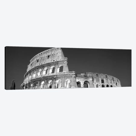 Low angle view of ruins of an amphitheater, Coliseum, Rome, Lazio, Italy (black & white) Canvas Print #PIM2413bw} by Panoramic Images Canvas Print