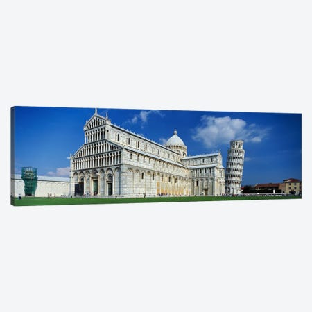 Facade of a cathedral with a towerPisa Cathedral, Leaning Tower of Pisa, Pisa, Tuscany, Italy Canvas Print #PIM2414} by Panoramic Images Canvas Art Print