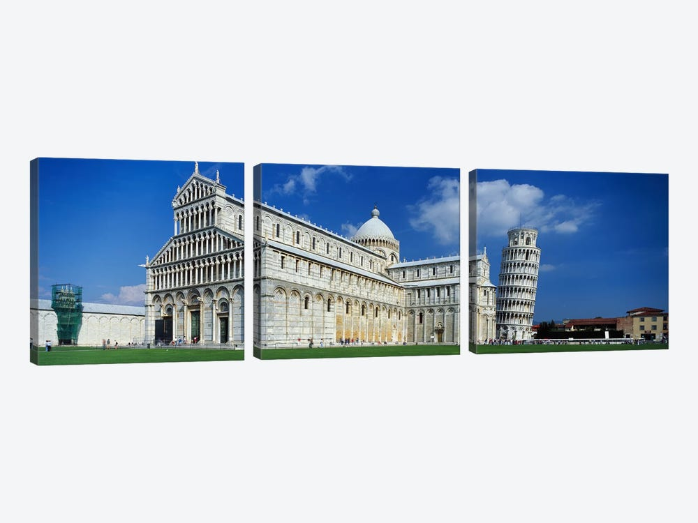 Facade of a cathedral with a towerPisa Cathedral, Leaning Tower of Pisa, Pisa, Tuscany, Italy 3-piece Canvas Artwork