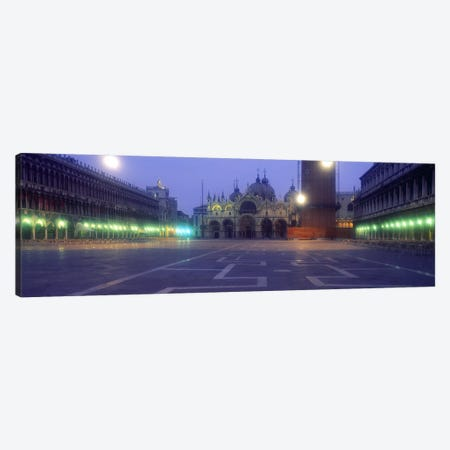Street lights lit up in front of a cathedral at sunriseSt. Mark's Cathedral, St. Mark's Square, Venice, Veneto, Italy Canvas Print #PIM2416} by Panoramic Images Art Print