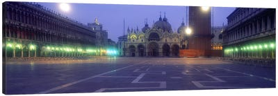 Street lights lit up in front of a cathedral at sunriseSt. Mark's Cathedral, St. Mark's Square, Venice, Veneto, Italy Canvas Print #PIM2416
