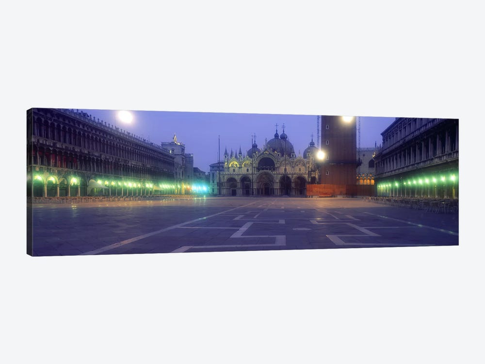 Street lights lit up in front of a cathedral at sunriseSt. Mark's Cathedral, St. Mark's Square, Venice, Veneto, Italy by Panoramic Images 1-piece Canvas Art