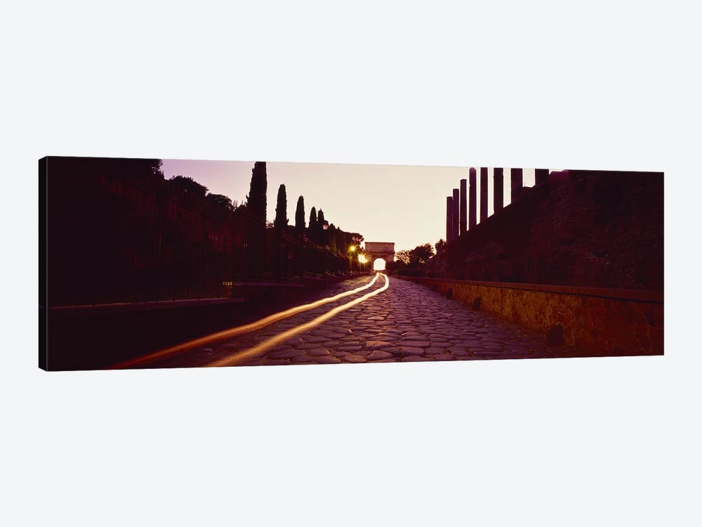 Ruins along a road at dawnRoman Forum, Rome, Lazio, Italy by Panoramic Images 1-piece Canvas Wall Art
