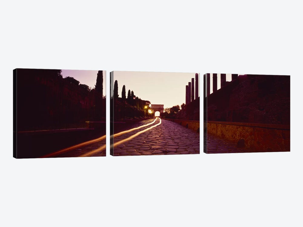 Ruins along a road at dawnRoman Forum, Rome, Lazio, Italy by Panoramic Images 3-piece Canvas Art