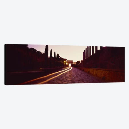 Ruins along a road at dawnRoman Forum, Rome, Lazio, Italy 3-Piece Canvas #PIM2418} by Panoramic Images Canvas Art