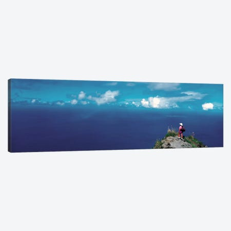 Hiker Pali Kokee State Park Kauai HI USA Canvas Print #PIM243} by Panoramic Images Canvas Wall Art