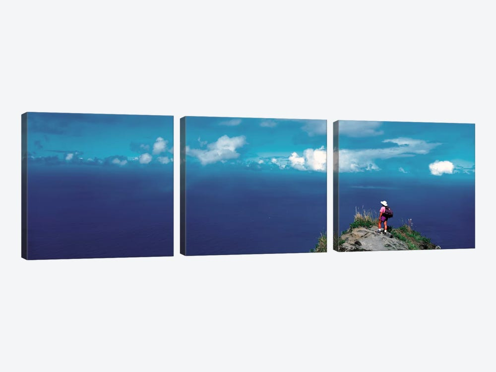 Hiker Pali Kokee State Park Kauai HI USA by Panoramic Images 3-piece Canvas Wall Art