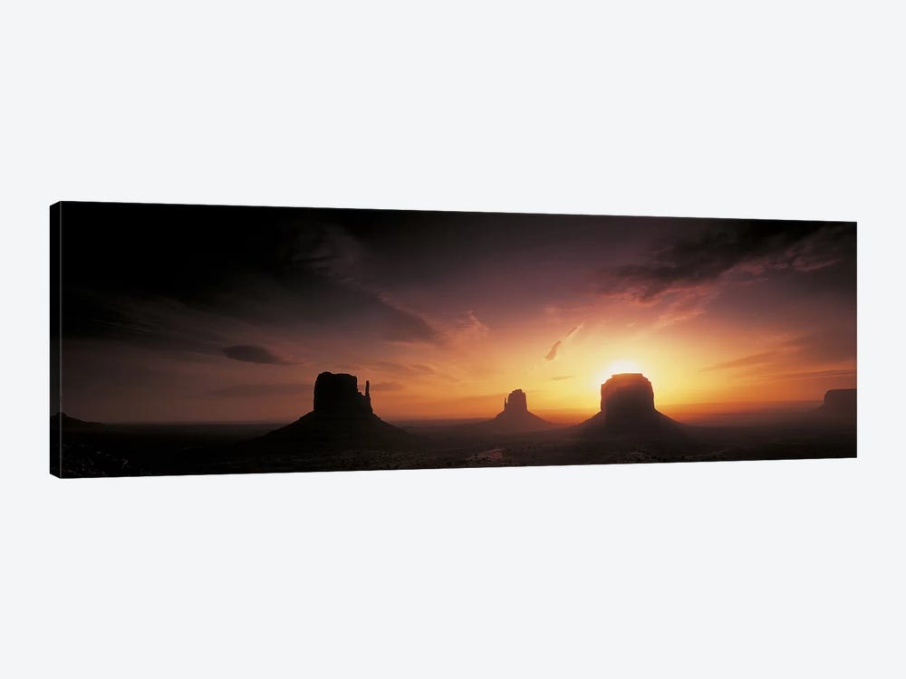 Cloudy Sunset Over The Mittens And Merrick Butte, Monument Valley, Navajo Nation, USA by Panoramic Images 1-piece Canvas Art Print