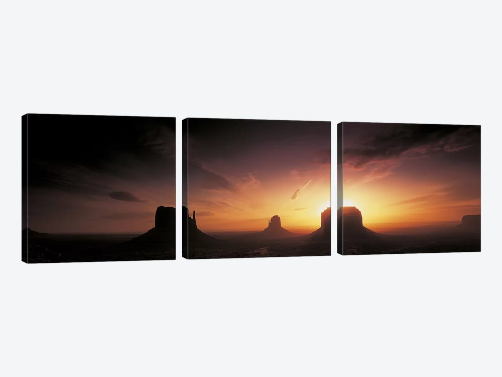 Cloudy Sunset Over The Mittens And Merrick Butte, Monument Valley, Navajo Nation, USA by Panoramic Images 3-piece Canvas Print
