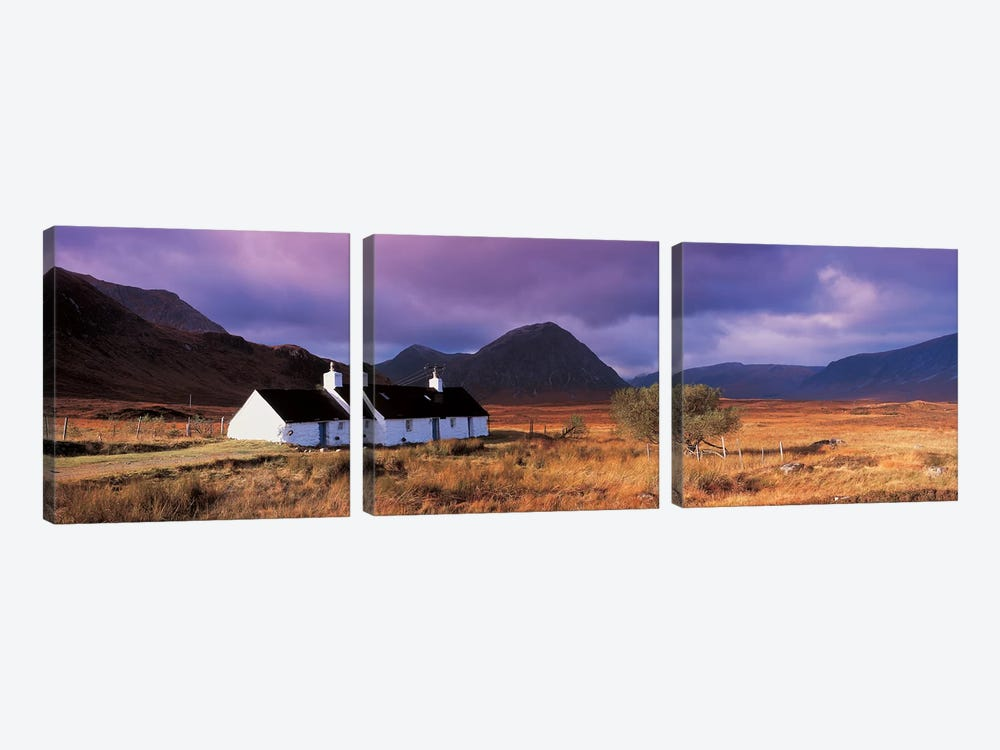 Black Rock Cottage White Corries Glencoe Scotland 3-piece Canvas Art Print