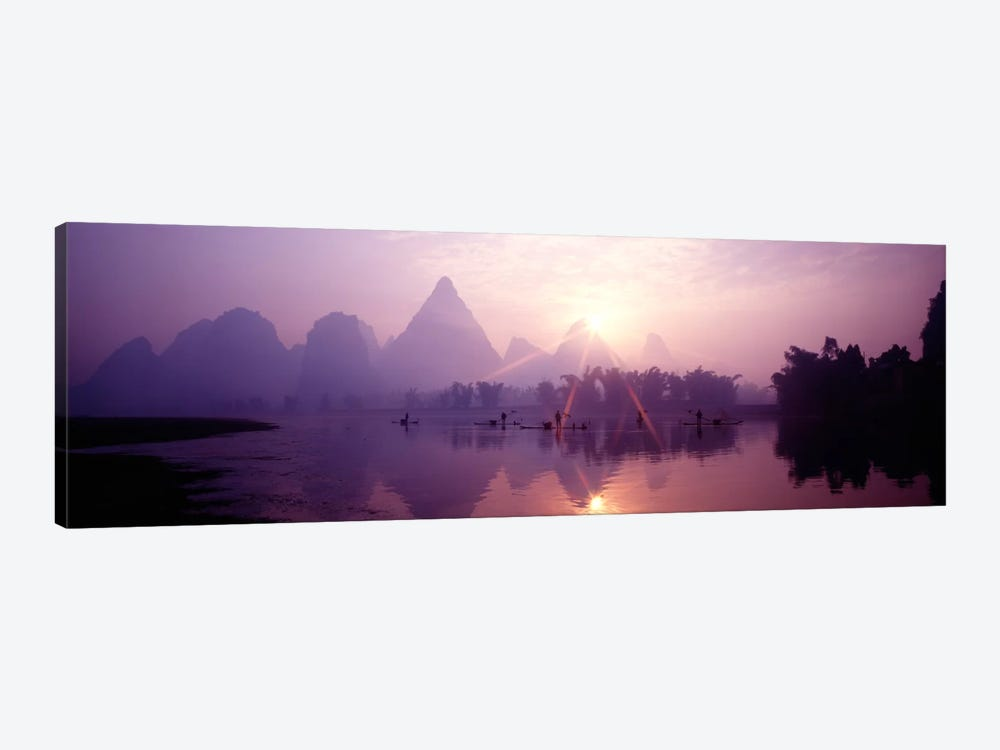 Fishing At First Light, Li River, Guilin, Guangxi Zhuang Autonomous Region, China by Panoramic Images 1-piece Canvas Artwork