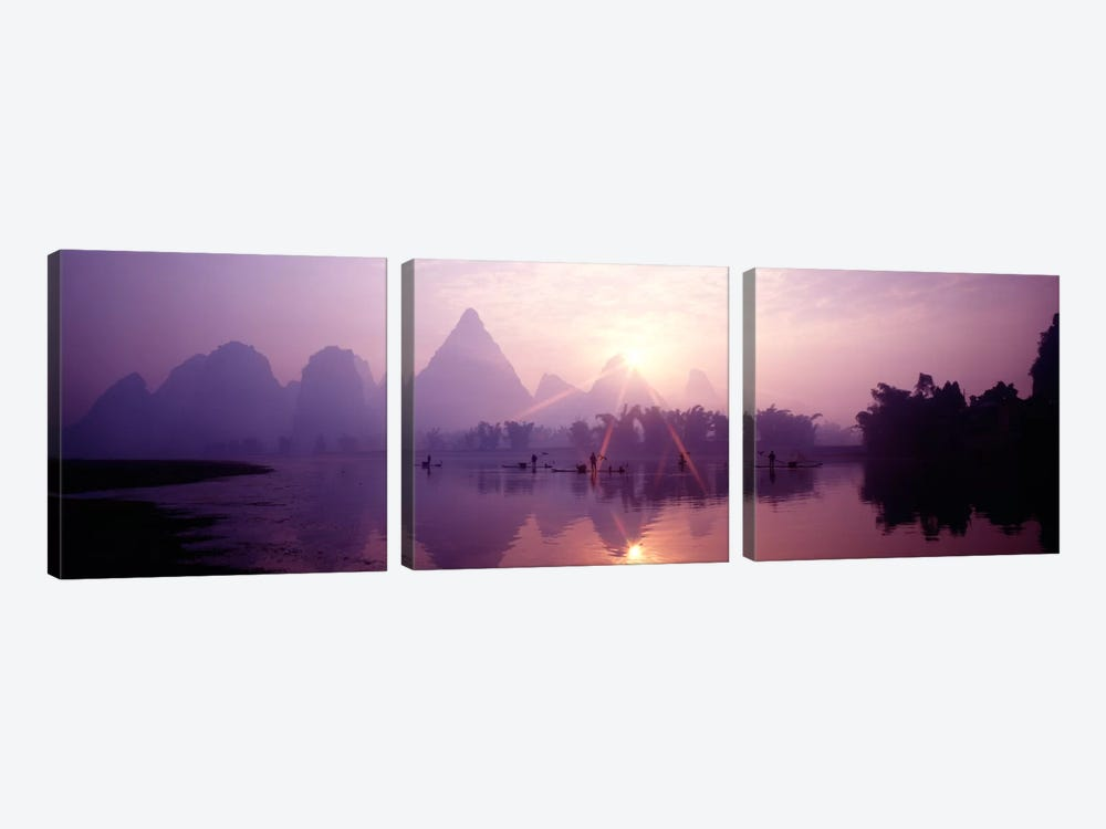 Fishing At First Light, Li River, Guilin, Guangxi Zhuang Autonomous Region, China by Panoramic Images 3-piece Canvas Artwork