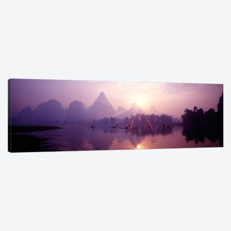 Fishing At First Light, Li River, Guilin, Guangxi Zhuang Autonomous Region, China 3-Piece Canvas #PIM245} by Panoramic Images Canvas Print