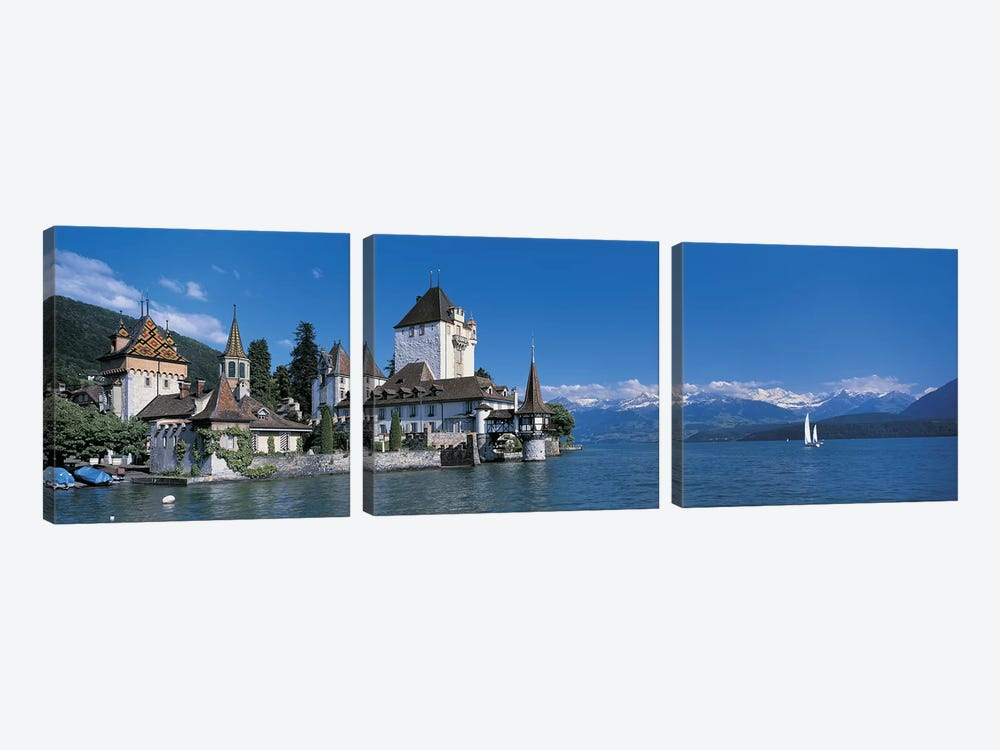 Oberhofen Castle w\ Thuner Lake Switzerland by Panoramic Images 3-piece Canvas Print
