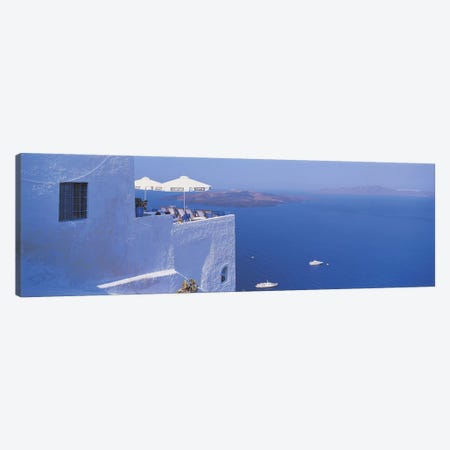 Rooftop Lounge Overlooking The Aegean Sea, Santorini, Greece Canvas Print #PIM2465} by Panoramic Images Canvas Wall Art