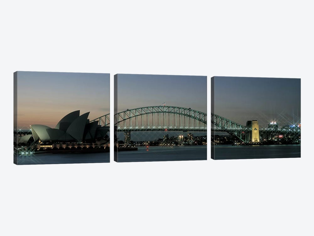 Opera House & Harbor Bridge Sydney Australia by Panoramic Images 3-piece Canvas Art