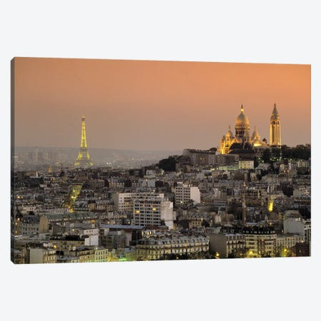 Eiffel Tower Sacred Heart Paris France Canvas Print #PIM2477} by Panoramic Images Art Print
